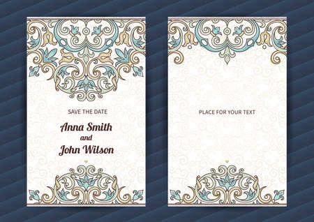 オリエンタル スタイルのヴィンテージの華やかなカード。東花装飾の概要を説明します。誕生日のグリーティング カード、結婚式の招待状テンプレ