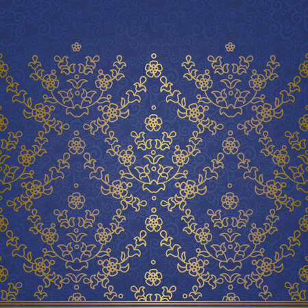 Vector floral border in Eastern style. Ornate golden element for design and place for text. Ornamental vintage pattern for wedding invitations, greeting cards. Traditional outline decor on blue background. Illustration