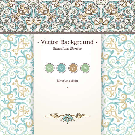 victorian frame: Vector ornate seamless border in Victorian style. Web page design template, web site design. Outline floral element, place for text. Easy to use, layered. Ornamental vintage frame. Traditional decor.