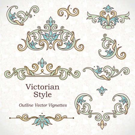 Vector set van vintage vignetten in Victoriaanse stijl. Overladen element voor ontwerp en plaats voor tekst. Sier patronen voor bruiloft uitnodigingen, verjaardag en wenskaarten. Traditionele schets decor.