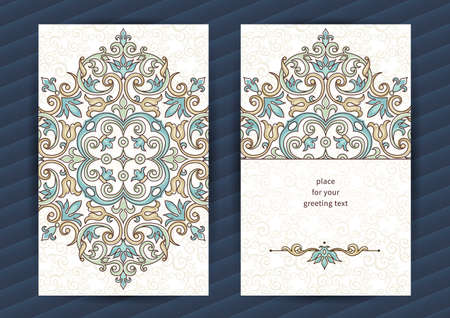 blank banner: Vintage ornate cards in oriental style. Outline Eastern floral decor. Template vintage frame for birthday and greeting card, wedding invitation. Ornate vector border. Easy to use, layered. Illustration