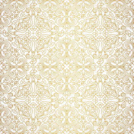 Vector seamless pattern with line art ornament. Vintage element for design in Victorian style. Ornamental lace tracery. Ornate floral decor for wallpaper. Endless texture. Outline pattern fill. Stock Illustratie