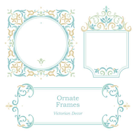 birthday invitation: Vector decorative frame in Victorian style. Elegant element for design template, place for text. Pastel floral border. Lace decor for birthday and greeting card, wedding invitation, Thank you message.