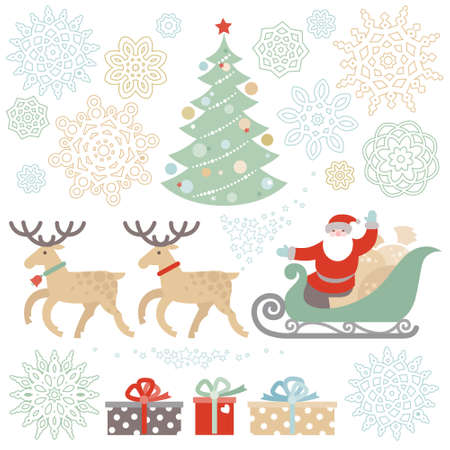 happy new years: Set of christmas vector elements, winter holidays icons collection. Santa Claus in sleigh, Christmas tree, snowflakes. Happy New Years decor for brochures, magazines, leaflets, best wishes card.