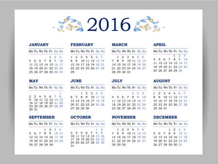thursday: Vector calendar for 2016 on white background. Floral decor. Template with week starts Monday.