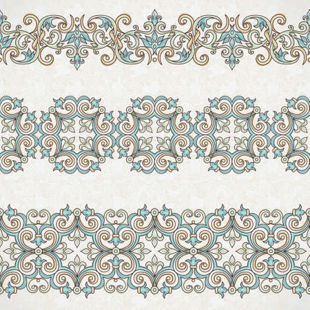 ornaments floral: Vector ornate seamless borders in Eastern style. Gorgeous element for design, place for text. Ornamental vintage pattern for wedding invitations, birthday and greeting cards. Traditional outline decor.