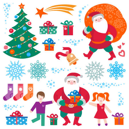christmas decor: Bright set of Christmas vector elements, winter holidays icons collection. Funny Santa Claus with bag of gifts, Christmas tree, happy kids, snowflakes. New Years decor for design template.