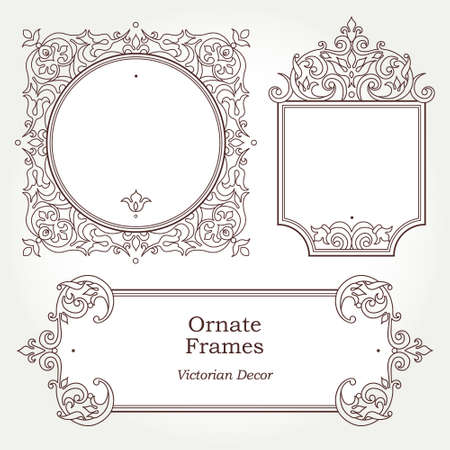 floral border: Vector decorative frame in Victorian style. Elegant element for design template, place for text. Outline floral border. Line art decor for birthday and greeting card, wedding invitation, Thank you message.