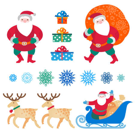 Bright set of Christmas vector elements, winter holidays icons collection. Santa Claus with bag of gifts, Santa Claus in sleigh, snowflakes. Happy New Years decor for design template.