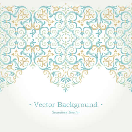 frieze: Vector ornate seamless border in Eastern style. Gorgeous element for design, place for text. Ornamental vintage pattern for wedding invitations, birthday and greeting cards. Traditional pastel decor.
