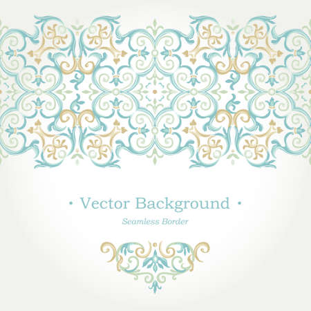 islam: Vector ornate seamless border in Eastern style. Gorgeous element for design, place for text. Ornamental vintage pattern for wedding invitations, birthday and greeting cards. Traditional pastel decor.