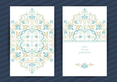 islamic: Vintage ornate cards in oriental style. Pastel Eastern floral decor. Template vintage frame for birthday and greeting card, wedding invitation. Ornate vector border. Easy to use, layered.