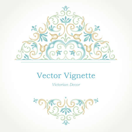 victorian frame: Vector floral vignette in Eastern style. Ornate element for design. Place for text. Ornament for wedding invitations, birthday and greeting cards, certificate. Lace pastel decor.