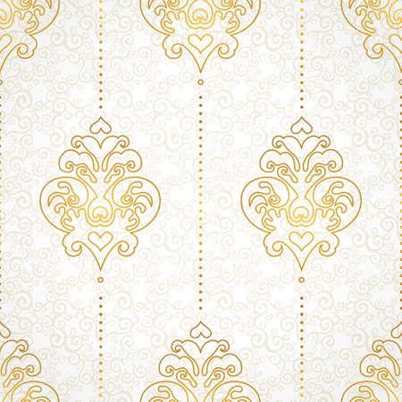 ビクトリア朝様式のシームレスなパターンをベクトルします。デザインの黄金の白黒要素です。観賞用のビンテージ網目模様。華やかな花の装飾の