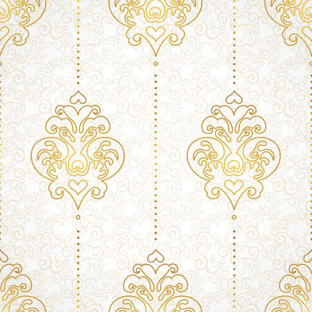 Vector seamless pattern in Victorian style. Golden monochrome element for design. Ornamental vintage tracery. Ornate floral decor for wallpaper. Endless vintage texture. Light pattern fill. Vettoriali