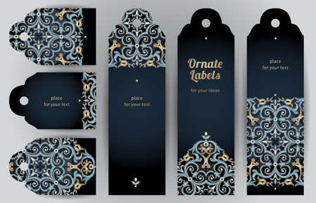 scroll background: Ornate cards in oriental style. Bright Eastern floral decor on dark backdrop. Template vintage frame for greeting card and wedding invitation. Vector labels with place for your text.