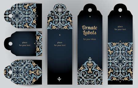 Sierlijke kaarten in oosterse stijl. Bright Eastern bloemen decor op een donkere achtergrond. Template vintage frame voor wenskaart en bruiloft uitnodiging. Vector labels met plaats voor uw tekst.