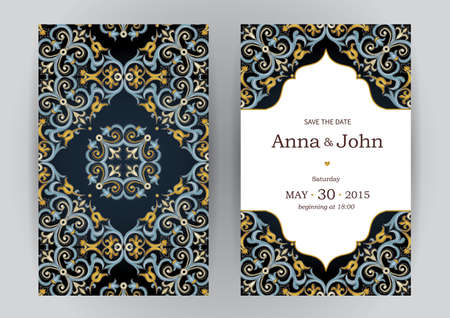 islamic: Vintage ornate cards in oriental style. Bright Eastern floral decor on dark backdrop. Template vintage frame for birthday and greeting card, wedding invitation. Ornate vector border. Easy to use, layered.
