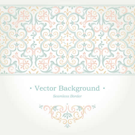 filigree background: Vector ornate seamless border in Eastern style. Gorgeous element for design, place for text. Ornamental vintage pattern for wedding invitations, birthday and greeting cards. Traditional pastel decor.