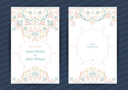 invitation cards: Vintage ornate cards in oriental style. Pastel Eastern floral decor. Template vintage frame for birthday and greeting card, wedding invitation. Ornate vector border. Easy to use, layered.