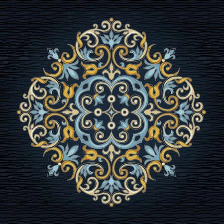 arabesco: patrón de la vendimia del vector en estilo victoriano. Elemento floral para el diseño adornado. Modelo del ornamento para las invitaciones de boda, cumpleaños y tarjetas de felicitación. decoración luminosa tradicional. ilustración cuadrado. Vectores