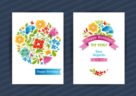 bouquet fleur: cartes florales vives dans le style d'été. un décor coloré. fond modèle pour l'anniversaire et une carte de voeux, faire-part de mariage, merci message .. Ornement vecteur frontière. Facile à utiliser, en couches.