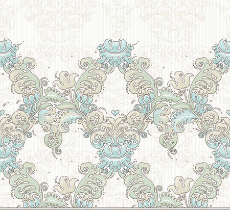brocade: Vector ornate seamless border in Victorian style. Gorgeous element for design, place for text. Ornamental vintage pattern for wedding invitations, birthday and greeting cards. Traditional pastel decor.
