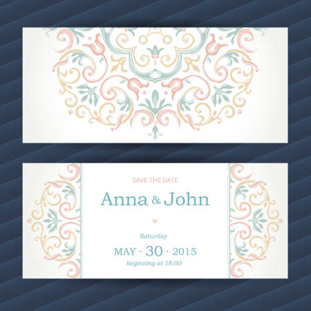pastel backgrounds: Vintage ornate cards in oriental style. Pastel Eastern floral decor. Template vintage frame for birthday and greeting card, wedding invitation. Ornate vector border. Easy to use, layered.