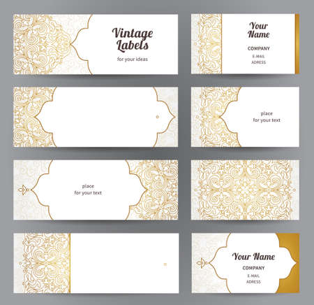 filigree border: Vector set of ornate horizontal cards in oriental style. Line art Eastern floral decor. Template vintage frame for greeting card, business card. Labels and tags with place for text.