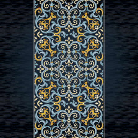 frame border: Vector ornate seamless border in Eastern style. Gorgeous element for design. Ornamental vintage pattern for wedding invitations, birthday and greeting cards. Traditional bright decor on dark background.