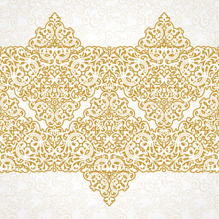 element for design: Vector ornate seamless border in Victorian style. Zig zag element for design. Ornamental vintage pattern for wedding invitations, birthday and greeting cards.Traditional golden decor.