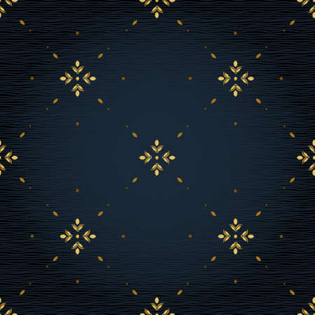 simple: Vector seamless pattern with golden ornament. Vintage element for design in Eastern style. Ornamental lace tracery. Simple floral decor for wallpaper. Endless texture. Dark pattern fill.