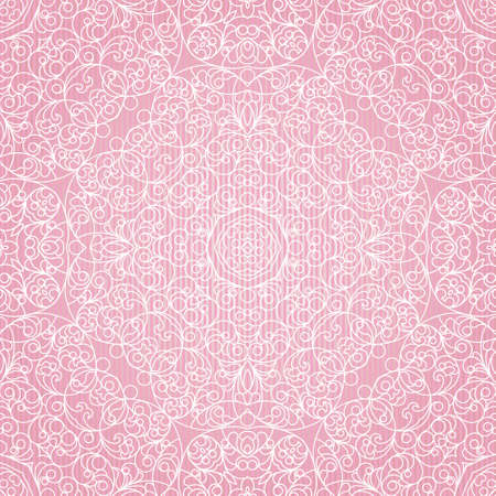 tracery: Vector seamless pattern with lace ornament. Vintage element for design in Eastern style. Ornamental pink tracery. Ornate floral decor for wallpaper. Endless texture. Summer pattern fill.