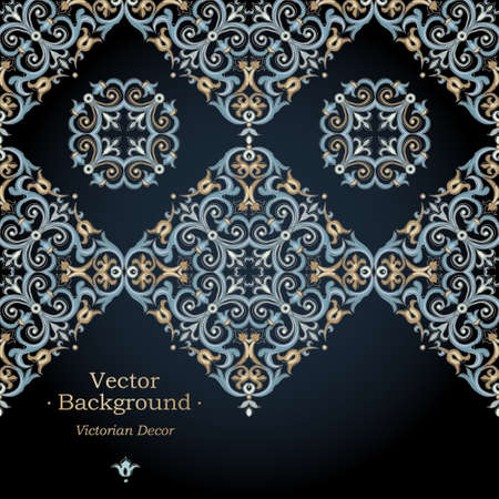 islam: Vector ornate seamless border in Eastern style. Gorgeous element for design. Ornamental vintage pattern for wedding invitations, birthday and greeting cards. Traditional bright decor on dark background.