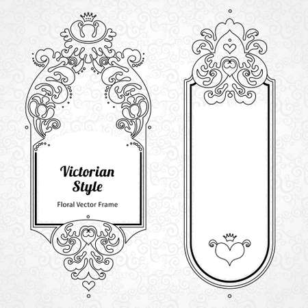border: Vector decorative frame in Victorian style. Elegant element for design template, place for text. Outline floral border. Line art decor for birthday and greeting card, wedding invitation, Thank you message.