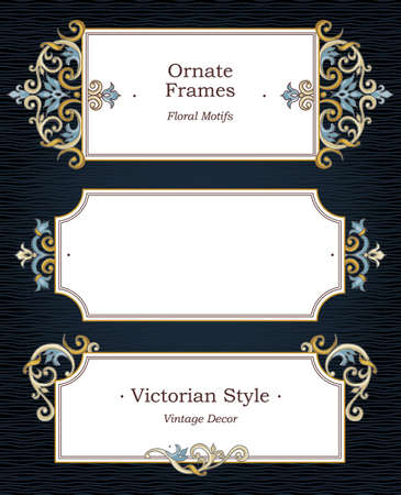 Vector set of decorative frames in Victorian style. Elegant element for design template, place for text. Floral border.Lace decor for birthday and greeting card, wedding invitation, thank you message.