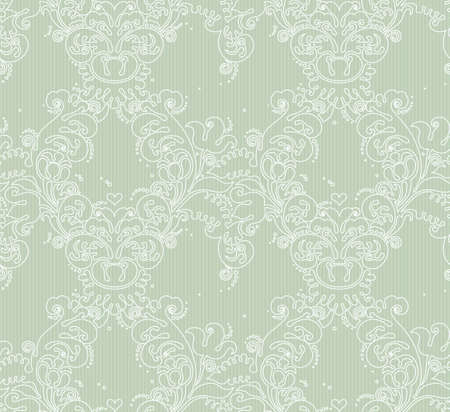 light green: Vector seamless pattern with line art ornament. Vintage element for design in Victorian style. Ornamental lace tracery. Ornate floral decor for wallpaper. Endless texture. Green pattern fill.