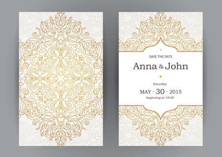 Vintage ornate cards in oriental style. Line art  Eastern floral decor. Template frame for birthday and greeting card, wedding invitation. Vector golden border with place for text. Easy to use, layered. Фото со стока - 49343984