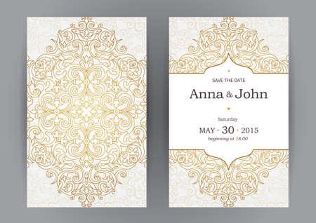 Vintage sierlijke kaarten in oosterse stijl. Lijntekeningen Oost bloemen decor. Malplaatjeframe voor verjaardag en wenskaart, bruiloft uitnodiging. Vector gouden grens met plaats voor tekst. Gemakkelijk te gebruiken, gelaagde.