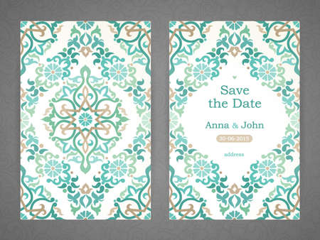 floral border: Vintage ornate cards in Eastern style. Oriental green floral decor. Template frame for save the date and greeting card, wedding invitation. Vector border with place for text. Easy to use, layered.
