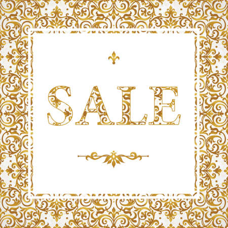 stock illustrations: Vintage sale discount banner in Victorian style. Oriental golden floral decor. Template placard design for sale season. Vector border with place for text.Easy to use, layered. Decor for time of sales. Illustration