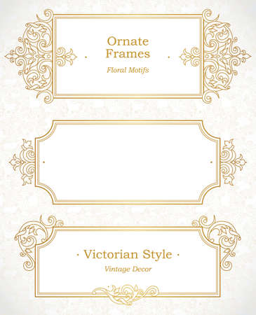 floral border: Vector decorative frame in Victorian style. Elegant element for design template, place for text. Outline floral border. Line art golden decor for birthday and greeting card, wedding invitation, Thank you message.