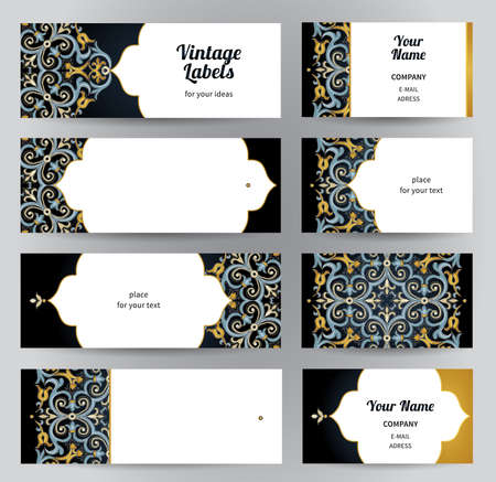 to place: Vector set of ornate horizontal cards in oriental style. Bright Eastern floral decor on dark backdrop. Template vintage frame for greeting card, business card. Labels and tags with place for text.