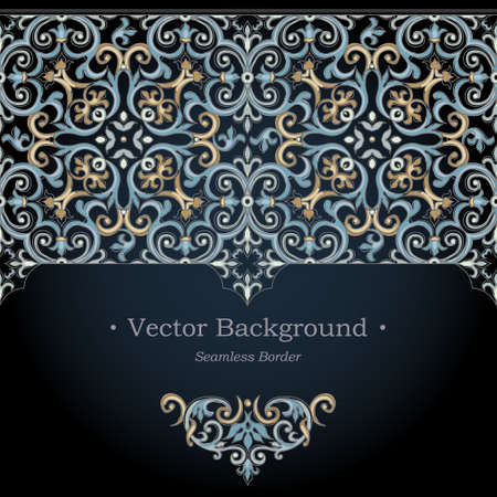 islam: Vector ornate seamless border in Victorian style. Gorgeous element for design. Ornamental vintage pattern for wedding invitations, birthday and greeting cards. Traditional dark background. Illustration