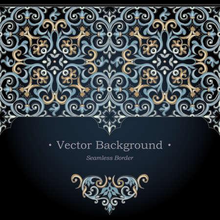 Vector sierlijke naadloze grens in Victoriaanse stijl. Schitterend element voor ontwerp. Sier vintage patroon voor bruiloft uitnodigingen, verjaardag en wenskaarten. Traditionele donkere achtergrond.