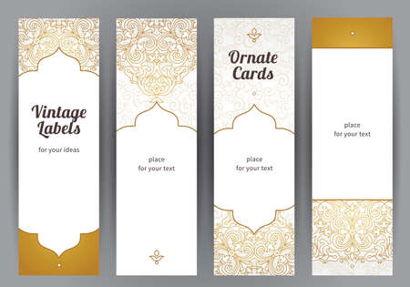 motif pattern: Vector set of ornate vertical cards in oriental style. Golden Eastern floral decor. Template vintage frame for greeting card and wedding invitation. Labels and tags with place for text.