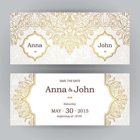 Vintage horizontale kaarten in oosterse stijl. Sierlijke Oost bloemen decor. Malplaatjeframe voor verjaardag en wenskaart, bruiloft uitnodiging. Vector gouden grens met plaats voor tekst. Gemakkelijk te gebruiken, gelaagde.