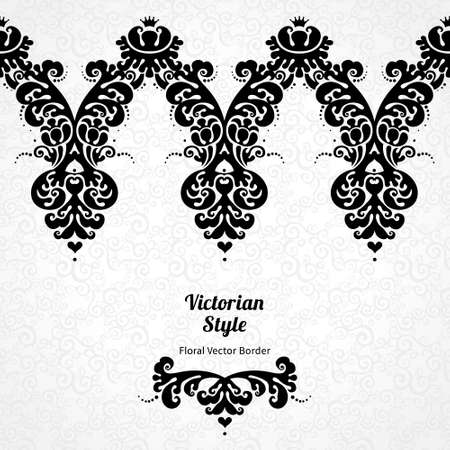 gold frame: Vector ornate seamless border in Victorian style. Gorgeous element for design, place for text. Ornamental vintage pattern for wedding invitations, birthday and greeting cards.Traditional black decor.