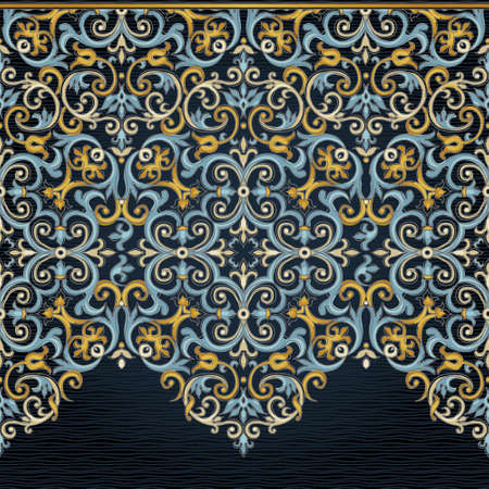seamless damask: Vector ornate seamless border in Eastern style. Zig zag element for design. Ornamental vintage pattern for wedding invitations, birthday and greeting cards. Traditional bright decor on dark backdrop.