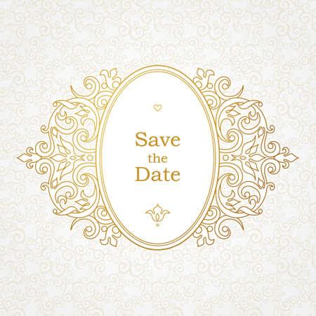 ovalo: Vector marco decorativo en estilo victoriano. Esquema elegante elemento de diseño de la plantilla, el lugar de texto. frontera floral oval. Línea de arte la decoración de oro para el cumpleaños y la tarjeta de felicitación, invitación de la boda, gracias mensaje. Vectores